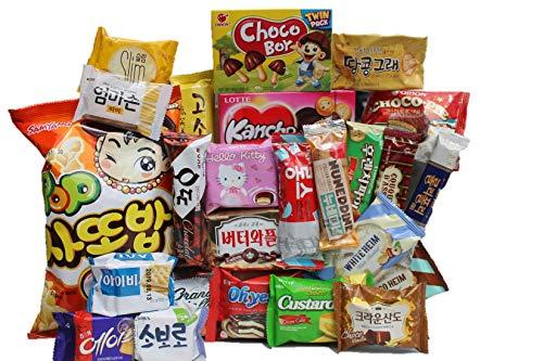 KOREAN PREMIUM SNACK BOX_Assorted Package Popular Deluxe Korean Brand Snacks and More! Perfect for GIFT   College Care Package   Gift Care Package   Asian Snack Box   Korean Chips   25 Packs
