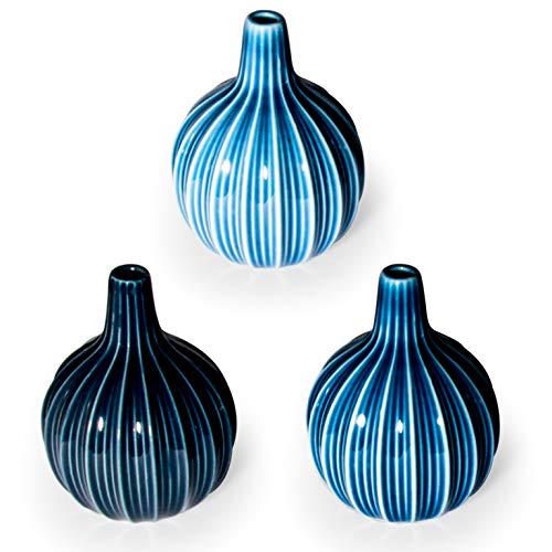 Ligano® Vasen Set aus Keramik – Hochwertige kleine Kugelvasen mit fein abgestimmten Farben – 3 Stück