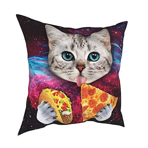 AERICKON Taco Cat Pizza Throw Pillow Cover Modern Decorative Throw Pillow Case Cushion Case for Room Bedroom Sofa Chair Car 18 x 18 Inch