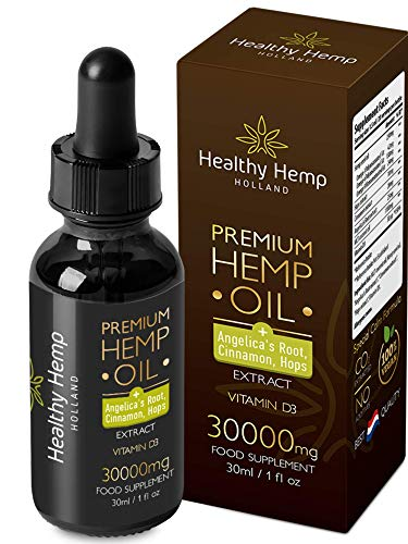 Healthy Hemp Holland Organic Hemp Oil – 30ml Special Calm Hemp Oil Drops with Angelica Root, Cinnamon and Hops Plus Vitamin D3 – High Concentration Formula – Ideal for Anxiety, Sleeping Problems