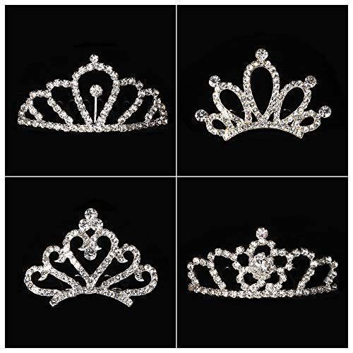 Bingcute 12Pcs Girl Princess Rhinestone Tiara Crown with Comb for Princess Party Favors Tiaras and Crowns for Little Girls