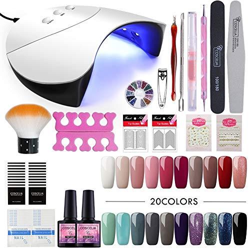 Saint-Acior UV Nagelack Gel Lack Nagelset 36W UV+LED Nagellampe Gel-Lack Starterset 20 Farben Gel...