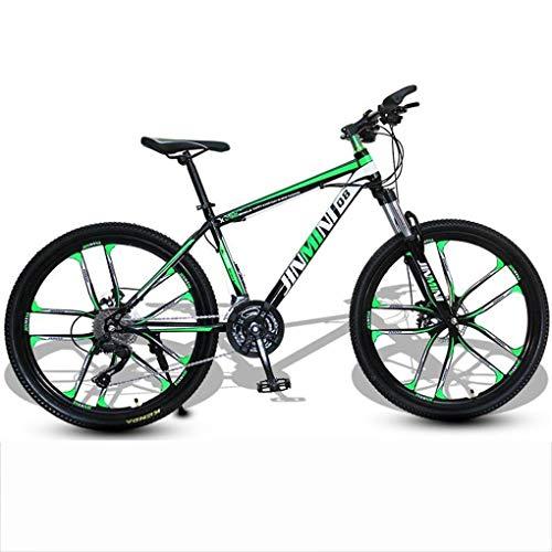 JLFSDB Mountain Bike,26 Inch Men/Women Hardtail Bike,Carbon Steel Frame Double Disc Brake and Front Suspension (Color : Black+Green, Size : 21 Speed)