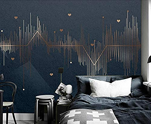 ZZXIAO Pared Pintado Papel tapiz 3D Golden Curve Geometric Sound Wave Inicio Sala de estar Decoración Decoración Fotográfico Fotomural sala sofá pared mural-400cm×280cm