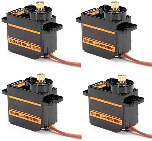 ZHITING 4 unidades ES08MA II de 12 g mini engranaje de metal analógico servo a prueba de golpes máquina estable compatible con modelo RC