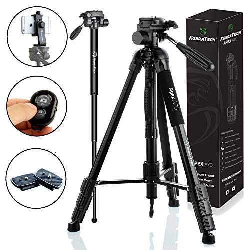 KobraTech 70 Inch Tripod for Camera and Phone  Apex A70 – Camera Tripod Stand with Bluetooth Remote Shutter Phone Tripod Mount amp Monopod