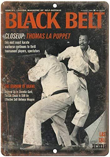 ABLERTRADE Black Belt Magazine Karate Wall Blechschild Retro Vintage Look Metall Blechschild Hausbüro Bar Pub Decor 20,3 x 30,5 cm