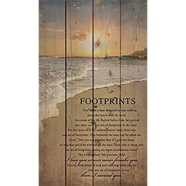 Footprints in the Sand Beach Scene 24 x 14 Wood Pallet Design Wall Art Sign Plaque