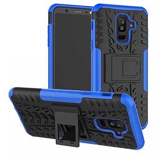 Labanema Galaxy A6 Plus 2018 Custodia, Kickstand Dual Layer Ibrida Rigida Morbido Armatura Resistente agli Urti con Supporto e asportabile di Protezione per Samsung Galaxy A6 Plus 2018-Blu