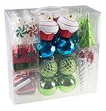 52 Piece Variety Bundle Shatterproof Christmas Tree Ornament Set   9 Shapes - Trees, Cupcakes, Peppermints, Church, Ice Skates, Santa Icicle   Large 80mm Balls   Festive Holiday Dcor   Gift Set