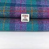 Harris Tweed - Tessuto in pura lana 100% a scacchi, realizzato in Scozia, Tartan, Haberdashery, 1 etichetta inclusa, 50 cm x 75 cm