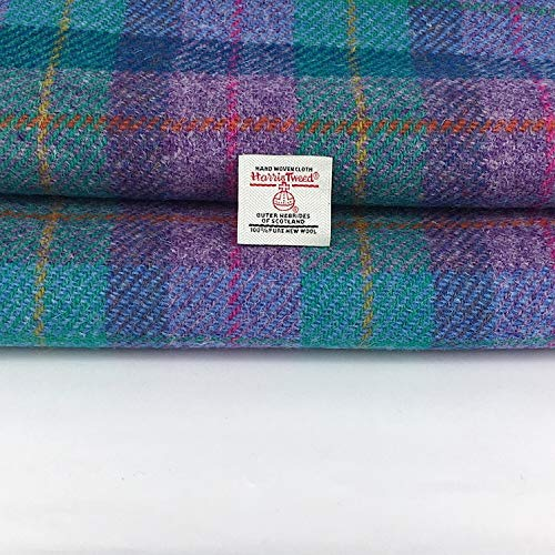 Tessuto Harris Tweed Viola Teal Check 100% Pura Lana Made In Scotland