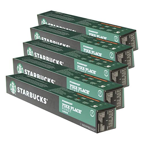 Starbucks Pike Place Roast Kaffee, 5er Set, Lungo, Medium Roast, Röstkaffee, Nespresso kompatibel, Kaffeekapseln, 50 Kapseln
