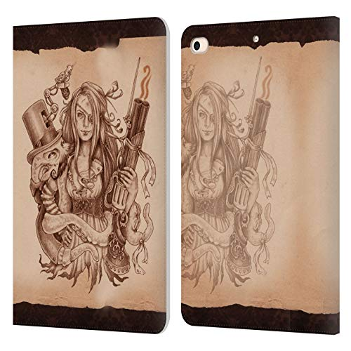 Official Brigid Ashwood Octopus Pinup Girl 3 Steampunk Leather Book Wallet Case Cover Compatible For Apple iPad mini (2019)
