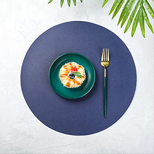 Mantel Individual Lavable de Cuero Redondo de PVC Antideslizante y antiescarcha Utensilios de Cocina para el hogar Posavasos Estera de Vino 38cm 2 udsEstilo F