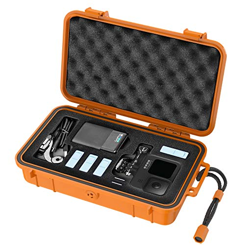 Smatree Waterproof Hard Case Compatible for Gopro Hero 9/8/7/6/5/Hero 2018 /DJI Osmo Action, Orange (Camera and Accessories NOT Included)