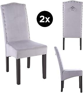 PS Global - Juego de 2 sillas de comedor Knockerback de terciopelo de calidad
