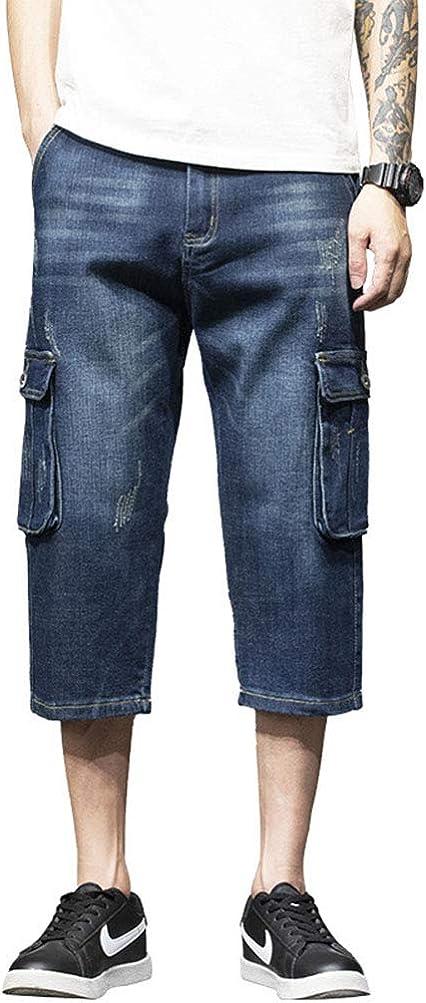 DSDZ Men's Slim Fit Denim Cargo Shorts Multi Pockets Jean Shorts
