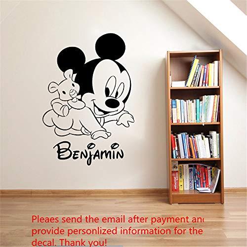sticker mural muraux Baby Mickey Mouse Warm Nom personnalisé Filles Garçons Enfants Mur de la chambre Nom personnalisé Nursery