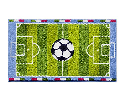 emmevi Tappeto Gioco Cameretta Bambini 80X140 cm Morbido Shaggy Bordato Retro Antiscivolo 100% Made in Italy MOD.Baby COLORTECH Calcio