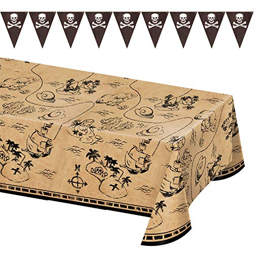 Pirate Party Supplies - Plastic Treasure Map Table Cover and Black Pennant Flag Banner Garland Set