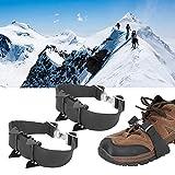 Zhivafip Crampones para Escalada en Nieve de 4 Dientes Funda Antideslizante para Zapatos Tacos de Hielo de tracción Crampones con Clavos Crampones para Escalada en Nieve para Exteriores de 4 Dientes