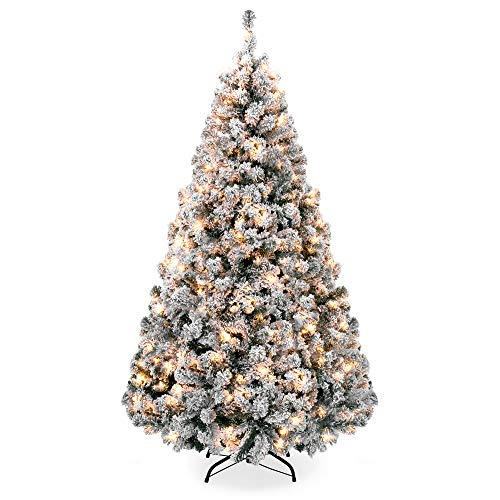 Best Choice Products 9ft Pre-Lit Snow Flocked Hinged Artificial Christmas Pine Tree Holiday Decor w/ 900 Warm White...