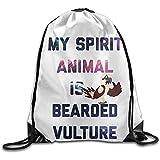 huatongxin Unisex Bolsa de Hombro,Drawstring Backpack,Tote School Rucksack,Bolsa de Gimnasio Ligera,My Spitit Animal Beared Vulture Sport Cinch Pack,Travel String Pull Bag,Gym Sack Bag