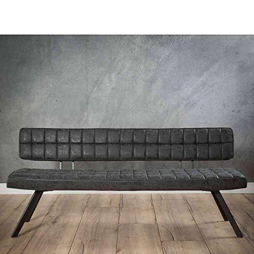 Pharao24 Esszimmersitzbank in Kunstleder Schwarz 4-Fußgestell aus Stahl Breite 180 cm 3 Sitzplätze