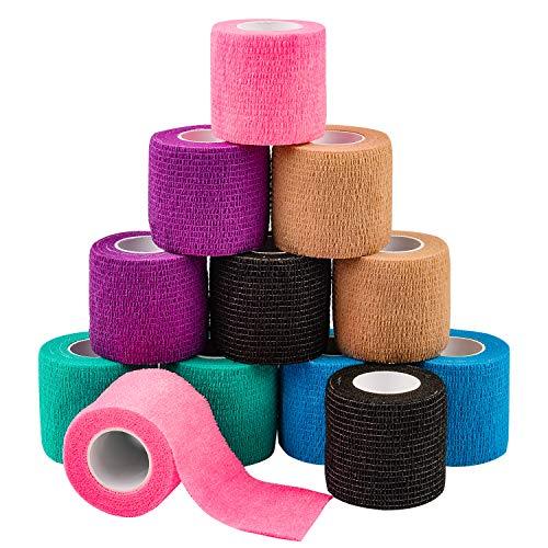 Fixierbinde Selbsthaftend, 5 cm x 4,5 m 12er Packung – Kohäsive Bandage für Erste Hilfe, Sportverletzungen, Hand- und Sprunggelenksverstauchung und Schwellungen