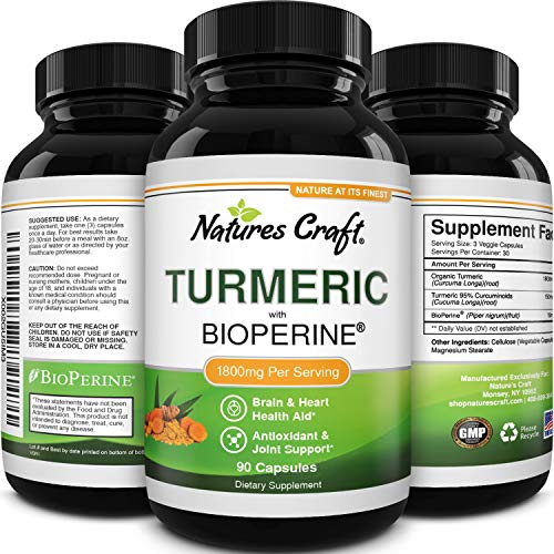 Turmeric Curcumin with Bioperine Antioxidant Supplement - Turmeric Capsules with Curcumin Supplements for Anti Aging Brain Booster and Joint Support - Turmeric with Black Pepper Brain Supplement