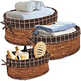 HomeGrove Handmade Storage Wicker Baskets - Set of 3 Natural Woven Baskets with Liners - Shelf Storage Baskets for Organizing Laundry, Closet, Pantry, Bathroom and Bedroom