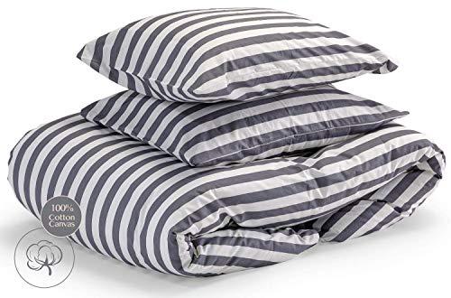 Savastextile Stripe Small Double Duvet Set Cover - Duvet Cover Cotton Duvet Sets - Small Double Bed Duvet Cover Set White Bedding set of 3 - Quilt Bedding Set For Small Double- Striped Duver Cover Set