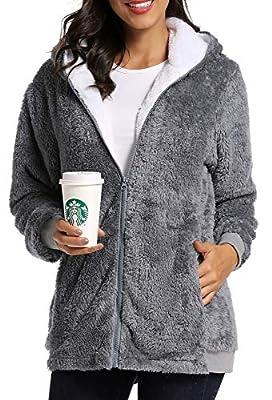 Caissip Fleece Coat for Women,Women's Oversized Zip Up Hooded Jacket Winter Plus Size Sherpa Coat Grey