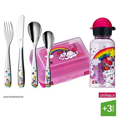 WMF Einhorn Kinderbesteck, 6-teilig, mit Trinkflasche und Brotdose, 3-9 Jahre, Cromargan Edelstahl poliert, spülmaschinengeeignet, farb- und lebensmittelecht