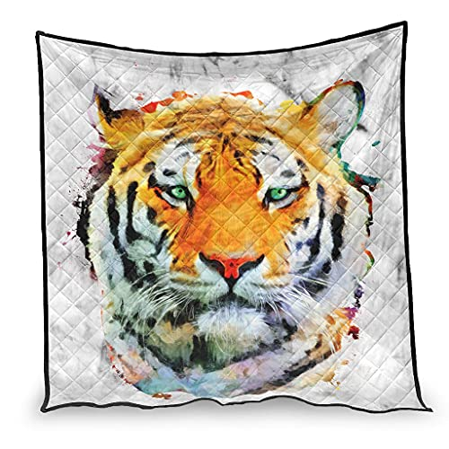 Zhouwonder Suave edredón tinta tigre lujosa manta de dormir para sofá cama sala de estar blanco 180x200cm