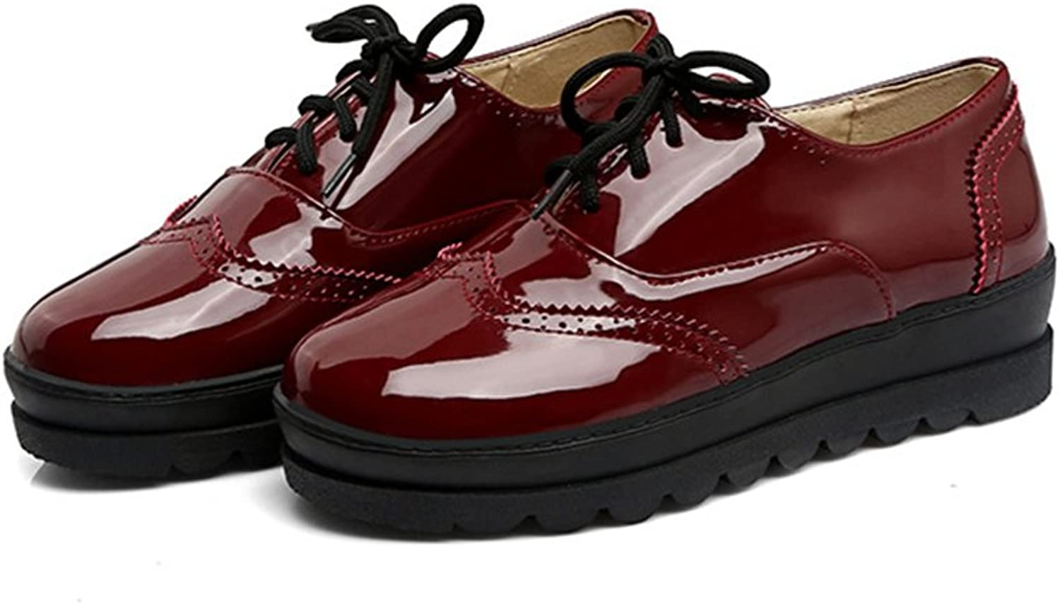T-JULY Women's Fashion Oxfords shoes - Comfy Wingtip Lace-up Round Toe Platform Casual shoes