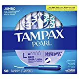 Tampax Pearl Tampons with Plastic Applicator, Light Absorbency, Unscented, 50 Count, Pack of 4 (200...