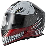 Nuovo stile VCAN V127 HOLLOW Rosso Graphic Moto Scooter Crash Casco Track Quick Sport Full Face ACU e passamontagna (M)