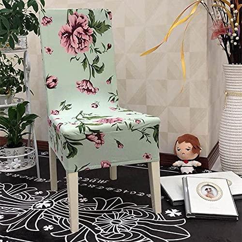 Wyxy Stuhlbezüge für Esszimmerstühle 6 Mint Green Pink Flower Stuhlbezüge Spandex Dining Chair Covers Stretch Abnehmbare, leicht waschbare Esszimmerstuhlbezüge, Easy Fit Moderne Sitzbezüge mit Gu