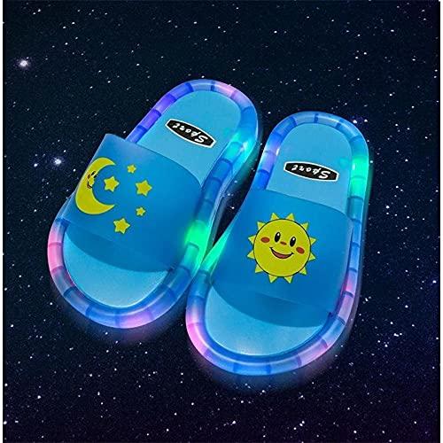 Zuecos Sanitarios Mujer Originales,Zapatillas Luminosas para NiñOs, Dibujos Animados Antideslizantes Soft-Soft-Resistente A La Seguridad De Las Zapatillas De Seguridad, Flip-Flops para Sandalias De B