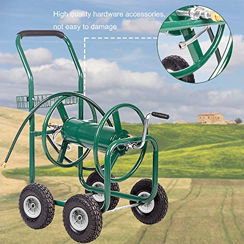 PayLessHere Garden Hose Reel Cart with Wheels Heavy Duty Yard Water Planting Holds 300FT Hose 4-Wheel Watering Outdoor Landscape Storage Basket, Green