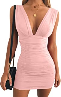 Women's Sexy Bodycon Sleeveless Ruched Party Mini Cocktail Dress
