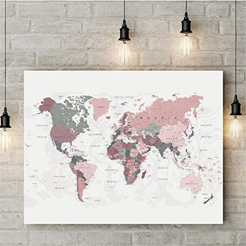 nr Wereldkaart canvasdruk rood roze & Hunter groene kaart van de wereld poster woonhuis decoratie moderne muurkunst afbeelding schilderij decoratie 50x70 cm frameloze