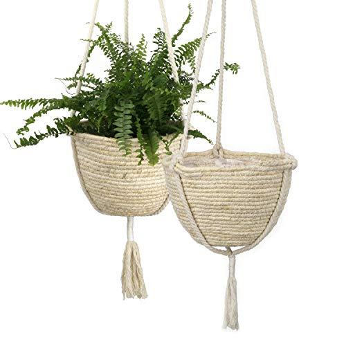 La Jolíe Muse natürliches, hängendes Maisschalen Pflanzenkörbe Set, umweltfreundliche Pflanzentöpfe für drinnen, Übertöpfe, 23 (D)*15(H) cm, Vanilleeis, 2-er Set