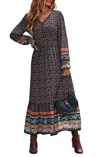 PRETTYGARDEN Womens Long Sleeve Maxi Dress - Summer Casual V Neck Button Down Floral Print Long Maxi Dresses (Black,Medium)