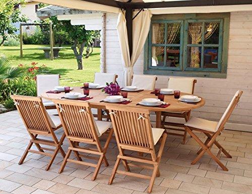 Import Set Pranzo da Giardino in Legno Teak con Tavolo SEDIE E Cuscini