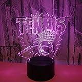 BFMBCHDJ Raquette de tennis coloré 3D lumière LED acrylique 3D Table lumière cadeau de vacances tactile 3D veilleuse A1 base noire