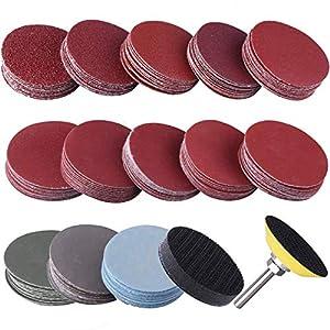 De almohadillas para discos de lijado, lijas de grano 80-3000 de 2 pulgadas, placa de respaldo uspacífica Cojines de esponja de vástago de 1/4