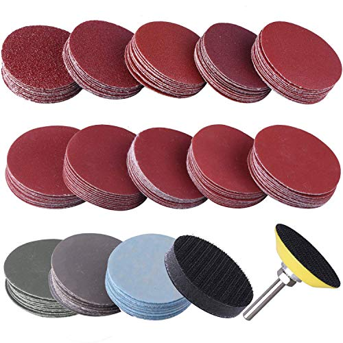 KONGMING Sanding Discs Pad Kit,2 Inch 80-3000 Grit Sandpapers,Uspacific Backer Plate 1/4' Shank Sponge Cushions for Drill Grinder Rotary Tools(130 pcs)